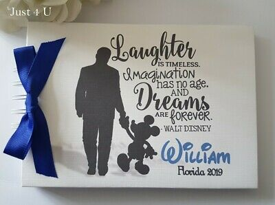 Personalised  Disney Autograph Book -  Mickey Mouse *Quote* Scrapbook Album