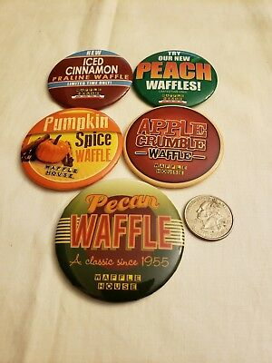Waffle House  5 Waffle Flavor Button Collection Rare Set Together Big Collection