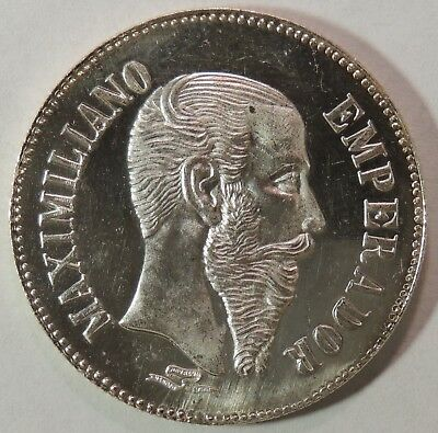 1864-1867 Mexico Emperador Maximiliano Imperio Mexicano Proof-like Silver Medal