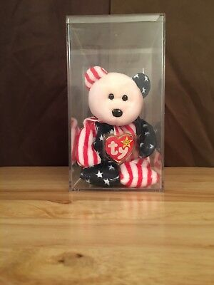 TY BEANIE BABY SPANGLE Bear PINK FACE DOB 6/14/1999 IN PLASTIC CASE