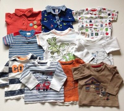 Baby Boys Blue And White Tops Long Sleeve 0-3 Months