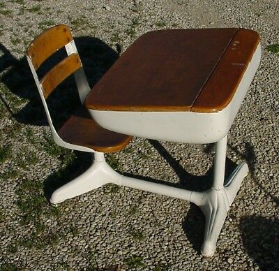 American Seating Co Vintage Child S School Desk W Chair Wood Metal