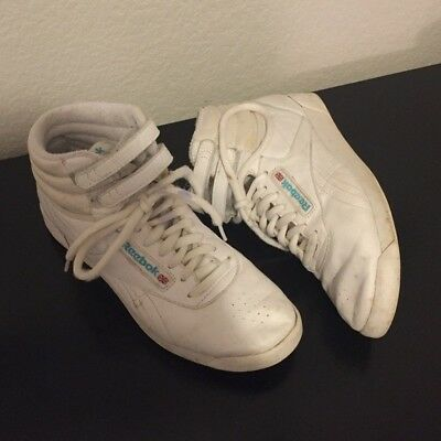 cheaper 5dabd caf7d Reebok Classic High Tops- White Freestyle Shoes, Vintage 80 s, Womens size  6.5