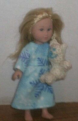 "6/6.5"" Doll Clothes-fit Mini American Girl My Life-Nightgown & Bear- Snowflake"