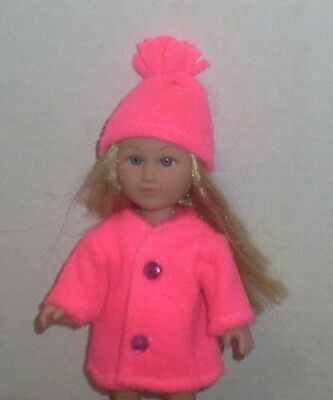 Doll Clothes-fit Mini American Girl Boy My Life-Coat & Hat-Fleece-Neon Pink