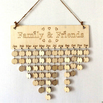 New Family&Friends Wooden Hanging Calendar Board Birthday Reminder Plaque O6