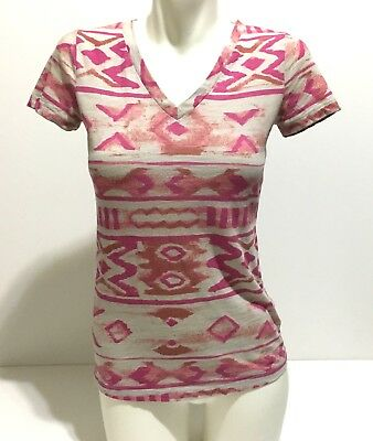eb5e248c1d93 NORDSTROM BP WOMEN S Size XS Pink Raw Edge Short Sleeve V-Neck Tee ...