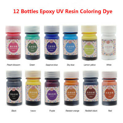 12 Bottles Epoxy UV Resin Coloring Dye Colorant Resin Pigment Art Craft U9