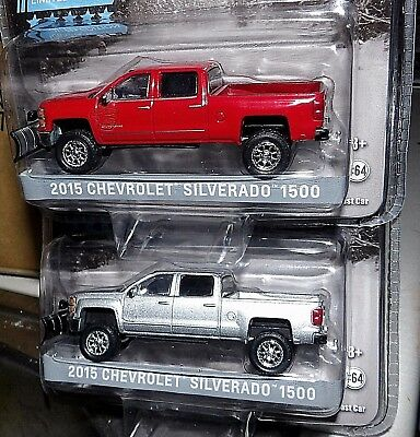 Greenlight 2015 Chevy Silverado 1500 Lift Kit Snowplow You Pick Red Or Silver