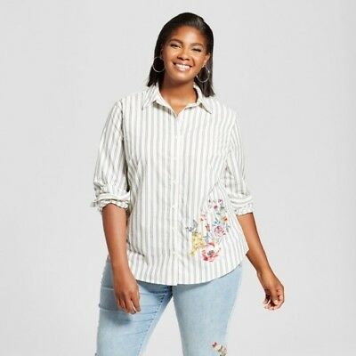 449b4c18 Women's Ava & Viv Embroidered Floral Button Down Striped Shirt Gray 2X, ...