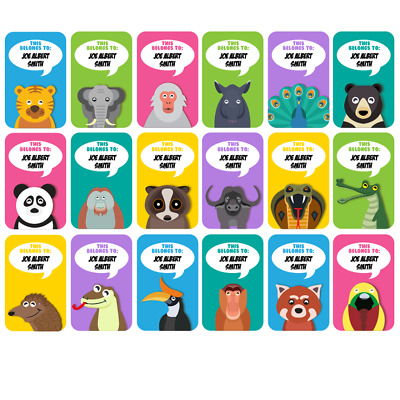 Asian Animals Personalised Name Label for Kids, dishwashable, microwaveable