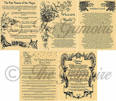 Wiccan Rede, Creed, 4 Powers & 13 Principles, Book of Shadows Pages, Witchcraft