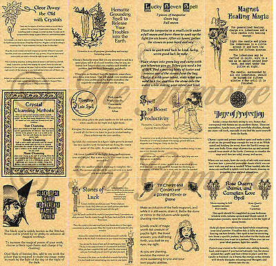 Crystal Spells for Book of Shadows Pages, Wicca, Witchcraft, BOS Pages