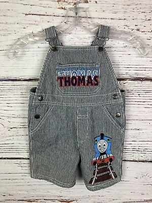 Thomas and Friends Train Pinstripe Overalls Shorts sz 3T