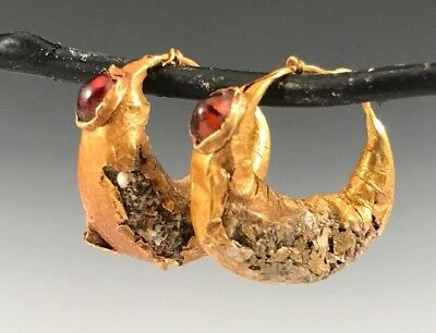 Ancient Roman-Byzantine Gold And Garnet Hoop Earrings! A Pair Wirh Character!