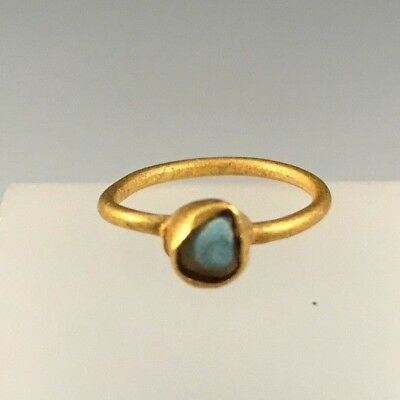 Ancient Roman Gold Ring With Turquoise Stone; Gorgeous Piece!