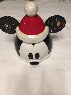 **Brand new Disney Store Mickey Mouse Holiday Cookie Jar** Christmas 2018