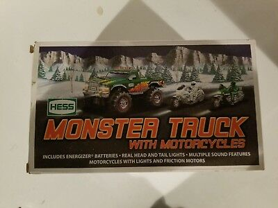 HESS 2007 TOY MONSTER TRUCK AND MOTORCYCLES w/box