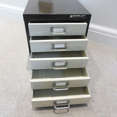 "Bisley 1 Drawer Cream /& Brown Steel Card Index Filing Cabinet 16/"" x 8½/"" x 6¼/"""