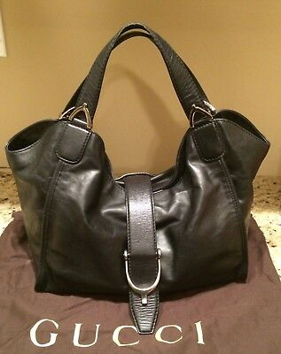 614666a8bab Authentic Gucci Black Leather Washed Stirrup Hobo shoulder Bag W Double  Straps