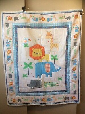 Handmade Quilt Or Play Mat, Jungle Creatures. Cot Size