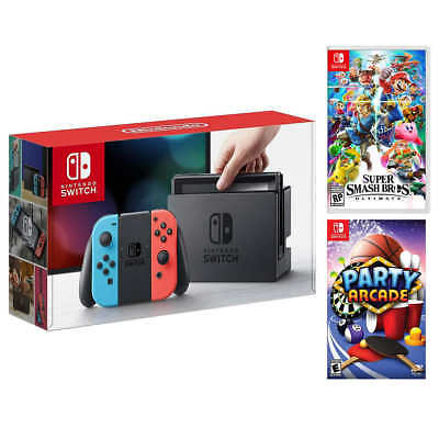 Nintendo Switch Bundle with Super Smash Bros. Ultimate and Party Arcade **NEW**