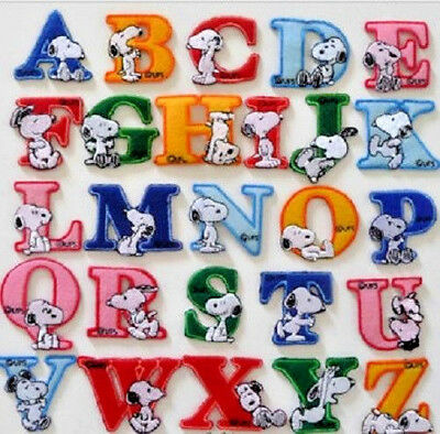 SNOOPY LETTERS ABC ALPHABET PATCH IRON SEW ON *SOLD INDIVIDUALLY* TOTAL 45p POST