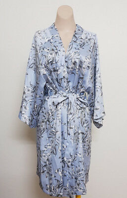 Bras n Things Icy Blue Floral Dressing Gown Robe Brunch Coat Size M
