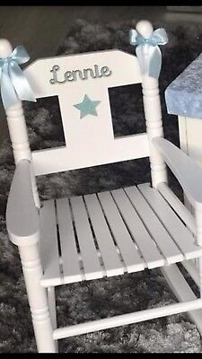 Childrens Personalised Pink Wooden Rocking Chair