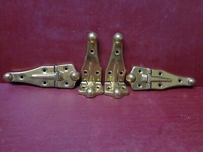 4 Vintage Nos More Avail Cabinet Door Steamer Trunk Brass Plated Hinges #3