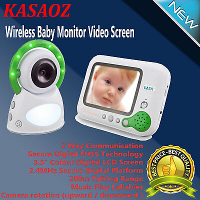 "Digital Wireless Baby LCD Monitor Video 3.5"" Screen Secure 2.4GHz 200m Range"