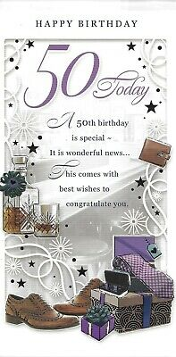 50th birthday card for a man ~ quality card with a presents design   J5