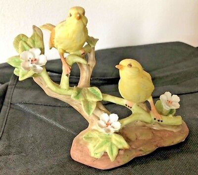 VINTAGE 2 small YELLOW BIRDS ARNART IMPORTS BISQUE FIGURE on Branch w Flowers