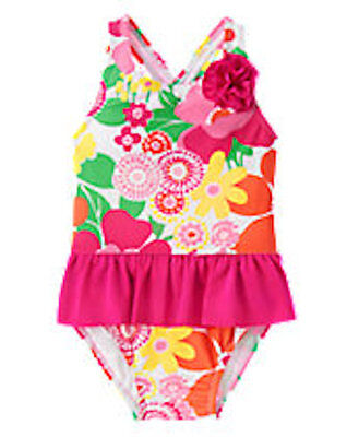 NWT Gymboree Girls Floral Flower Swimsuit Ruffle Swim shop Sunny Day Many Sizes