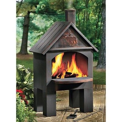 Outdoor Patio Firepit Backyard Deck Fire Pit Chiminea Cabin Cooking BBQ ON SALE!