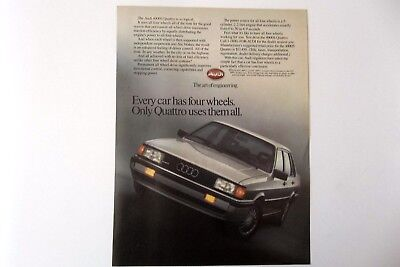 1985 Audi 4000S Vintage Original Print Ad Car Automobile