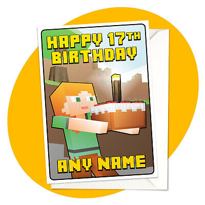 Alex & Cake - PERSONALISED BIRTHDAY CARD - Minecraft themed personalized gamer