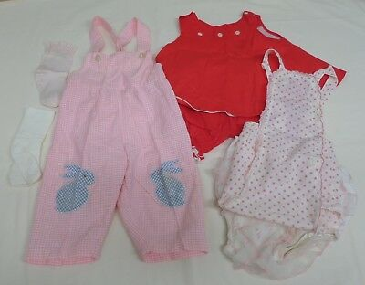 Vintage German Baby to Toddler 3 Summer Play Outfits plus accessories circa 1960