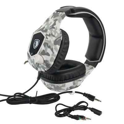 Stereo Gaming Chat Headset w/ Mic Camouflage for Computer PlayStation PS4 3.5mm