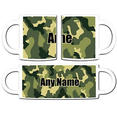 PERSONALISED CAMOUFLAGE ARMY PRINT 11oz CERAMIC MUG COFFEE CHRISTMAS BIRTHDAY