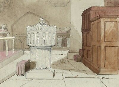 Stone Carved Font in Church Interior - Mid-19th-century watercolour painting