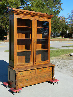 Walnut Victorian Eastlake 2 Door Bookcase circa 1880