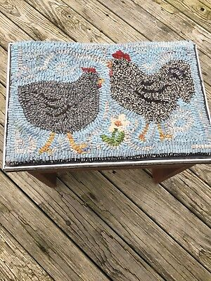 Hand Made Primitive Style Hooked Rug Chickens on Pine And Metal Bench Rustic Fun