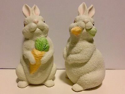 Dept 56 Pair Of Snowbunnies Easter Bunny Rabbit Figurines