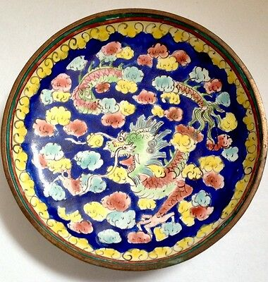 Vintage Chinese Dragon Enamel Pin Dish