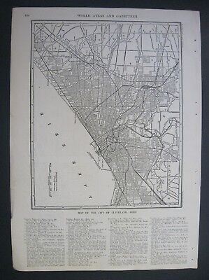 1907 Original Antique Map of Cleveland, Ohio