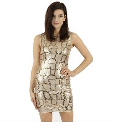 0c484ad23c92 LIPSY LONDON BUSTIER Sequin Party Dress Size 10 Gold & Ivory, Tulle ...