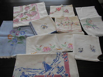 Embroidered Printed Cutter Lot 9 Tablecloth Topper Pillowcases Craft Repair Use