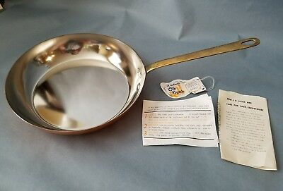 "Vintage NOS Old Dutch Copper & Brass Skillet / Pan 10.5"" 10 1/2"" Copper Cookware"