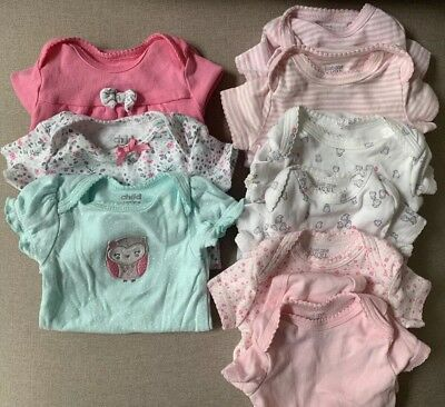 9 Piece 3m Girls Clothing Lot Just One You  And Child Of Mine Carter's Bodysuits